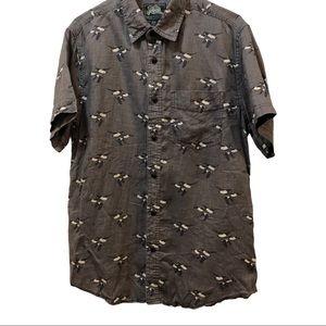 Roots 100% linen short sleeve grey  shirt Size M